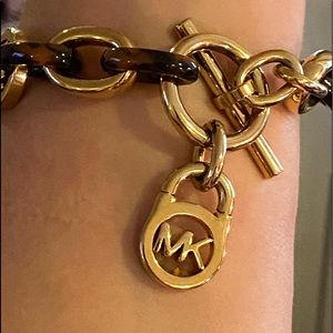 MK Toggle heritage tortoise shell gold chain link